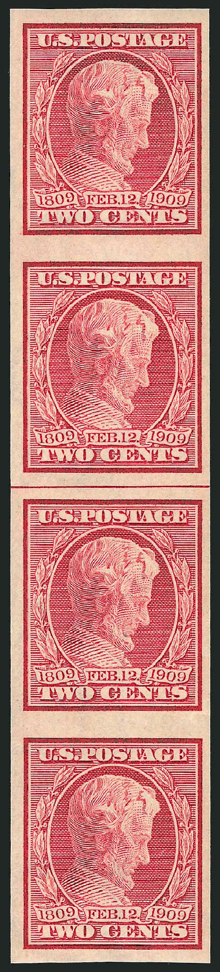Price of US Stamp Scott Catalogue # 368 - 1909 2c Lincoln Imperf. Robert Siegel Auction Galleries, Feb 2015, Sale 1093, Lot 177