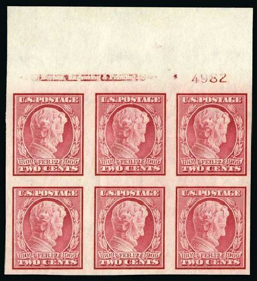 Values of US Stamp Scott Cat. #368: 2c 1909 Lincoln Imperf. Spink Shreves Galleries, Jul 2015, Sale 151, Lot 268