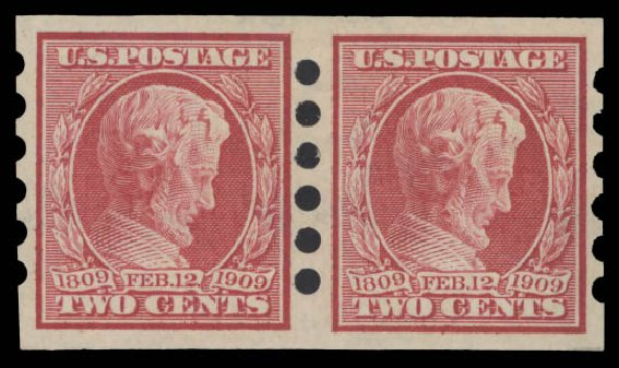Cost of US Stamps Scott #368: 1909 2c Lincoln Imperf. Daniel Kelleher Auctions, Aug 2015, Sale 672, Lot 2671