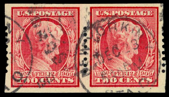 US Stamps Price Scott 368: 2c 1909 Lincoln Imperf. Daniel Kelleher Auctions, Jan 2015, Sale 663, Lot 1714
