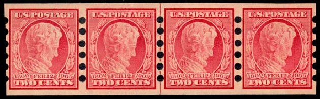 US Stamp Prices Scott Catalogue #368 - 1909 2c Lincoln Imperf. Daniel Kelleher Auctions, Jan 2015, Sale 663, Lot 1715