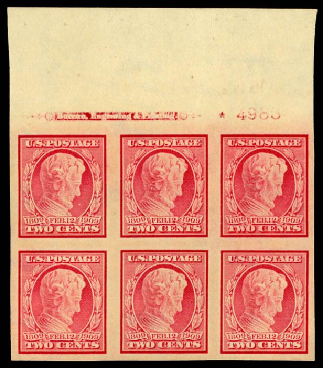 Price of US Stamps Scott Catalogue #368: 1909 2c Lincoln Imperf. Daniel Kelleher Auctions, May 2015, Sale 669, Lot 2925