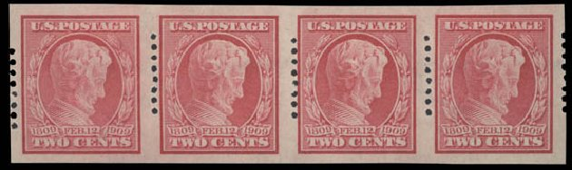 Values of US Stamps Scott Catalogue # 368: 1909 2c Lincoln Imperf. Daniel Kelleher Auctions, Aug 2015, Sale 672, Lot 2672