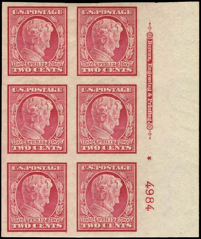 US Stamp Values Scott Catalogue # 368: 1909 2c Lincoln Imperf. Regency-Superior, Nov 2014, Sale 108, Lot 762