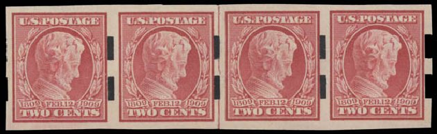 Cost of US Stamp Scott Catalogue # 368: 2c 1909 Lincoln Imperf. Daniel Kelleher Auctions, Aug 2015, Sale 672, Lot 2673