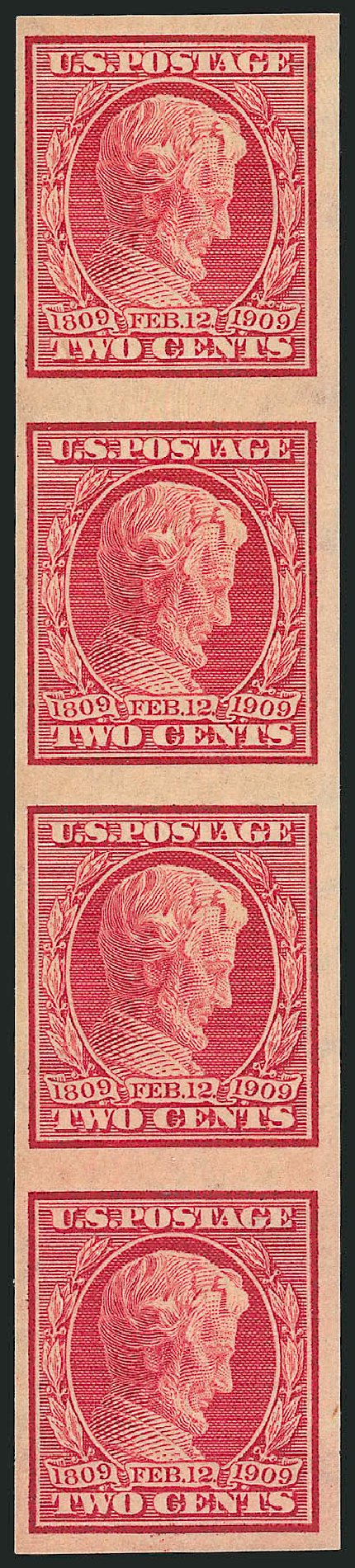 Value of US Stamp Scott 368: 2c 1909 Lincoln Imperf. Robert Siegel Auction Galleries, Feb 2015, Sale 1093, Lot 176