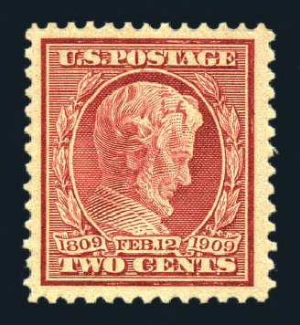US Stamp Prices Scott Catalog #369: 1909 2c Lincoln Bluish Paper. Harmer-Schau Auction Galleries, Aug 2015, Sale 106, Lot 1779