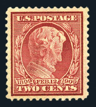 US Stamps Values Scott Catalog 369: 2c 1909 Lincoln Bluish Paper. Harmer-Schau Auction Galleries, Aug 2015, Sale 106, Lot 1780