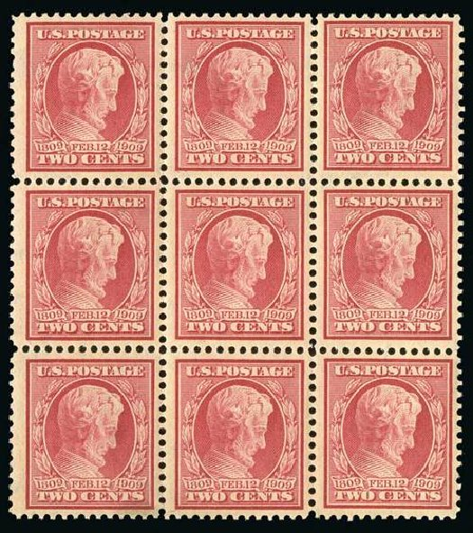 Value of US Stamp Scott Catalogue # 369: 2c 1909 Lincoln Bluish Paper. Spink Shreves Galleries, Jul 2015, Sale 151, Lot 270