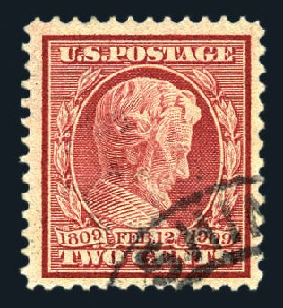 US Stamps Prices Scott Catalogue #369: 2c 1909 Lincoln Bluish Paper. Harmer-Schau Auction Galleries, Aug 2015, Sale 106, Lot 1781