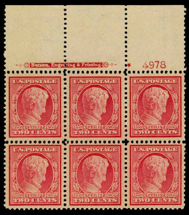 US Stamp Price Scott Cat. 369: 2c 1909 Lincoln Bluish Paper. Daniel Kelleher Auctions, Aug 2015, Sale 672, Lot 2674