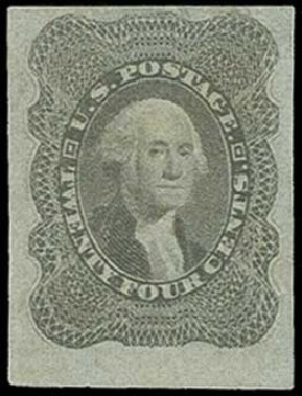 US Stamps Values Scott Catalogue 37 - 1860 24c Washington. H.R. Harmer, Jun 2015, Sale 3007, Lot 3009
