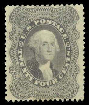 US Stamps Prices Scott 37: 1860 24c Washington. Daniel Kelleher Auctions, Aug 2015, Sale 672, Lot 2219