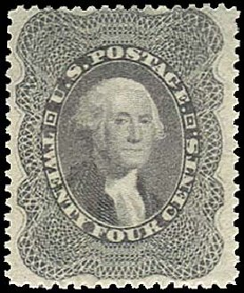 US Stamps Value Scott Catalog 37 - 24c 1860 Washington. Regency-Superior, Aug 2015, Sale 112, Lot 129