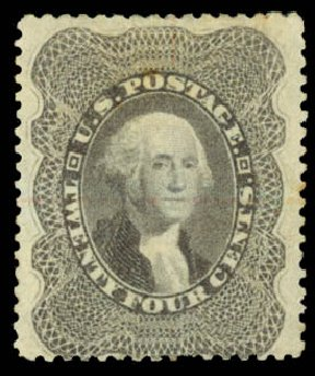 Costs of US Stamps Scott Cat. #37: 24c 1860 Washington. Daniel Kelleher Auctions, Aug 2015, Sale 672, Lot 2220