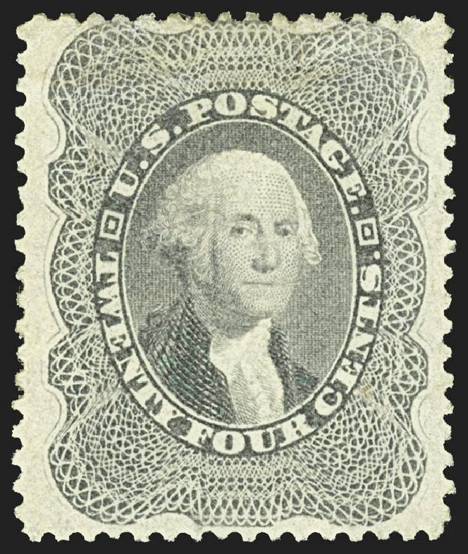 US Stamp Values Scott Catalogue #37 - 24c 1860 Washington. Robert Siegel Auction Galleries, Jul 2015, Sale 1107, Lot 100