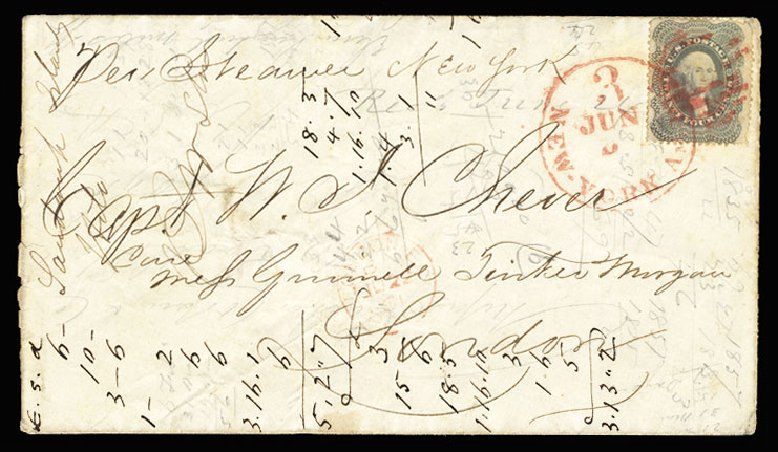 Prices of US Stamps Scott Catalog 37: 1860 24c Washington. Cherrystone Auctions, Jul 2015, Sale 201507, Lot 25