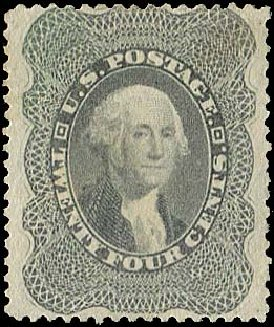 US Stamp Value Scott Cat. 37 - 24c 1860 Washington. Regency-Superior, Aug 2015, Sale 112, Lot 135