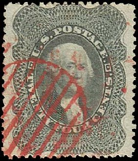 US Stamps Values Scott # 37: 24c 1860 Washington. Regency-Superior, Aug 2015, Sale 112, Lot 132