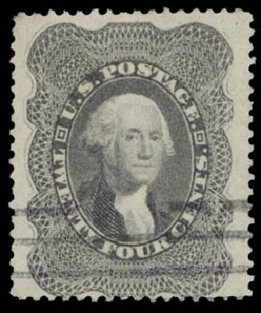 Values of US Stamp Scott # 37: 1860 24c Washington. Daniel Kelleher Auctions, May 2015, Sale 669, Lot 2473