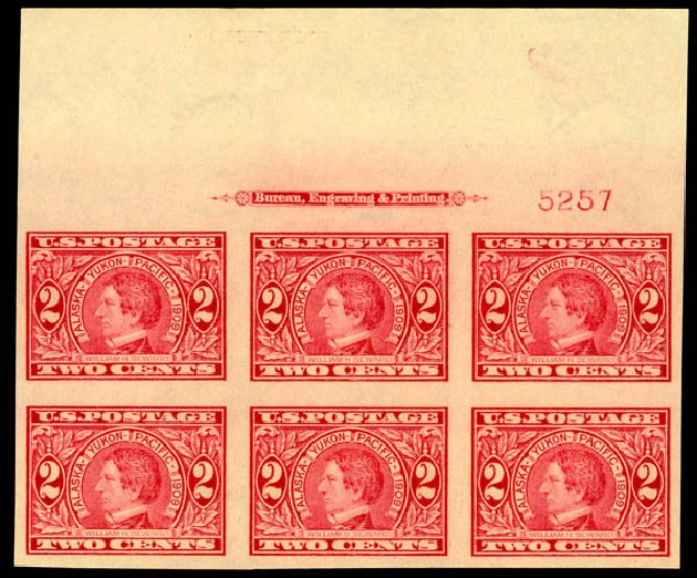 Values of US Stamps Scott # 371 - 2c 1909 Alaska-Yukon Exposition Imperf. Daniel Kelleher Auctions, Aug 2015, Sale 672, Lot 2677