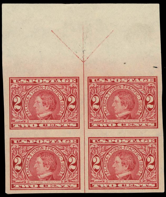 US Stamp Price Scott Catalogue 371: 1909 2c Alaska-Yukon Exposition Imperf. Daniel Kelleher Auctions, May 2015, Sale 669, Lot 2928
