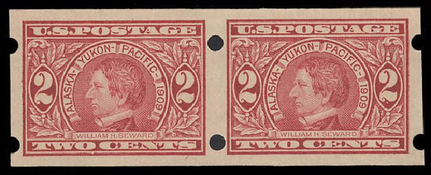 Costs of US Stamps Scott Catalog #371 - 2c 1909 Alaska-Yukon Exposition Imperf. Daniel Kelleher Auctions, Aug 2015, Sale 672, Lot 2678