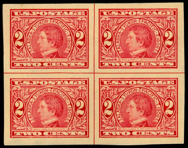 Price of US Stamp Scott Catalog 371 - 2c 1909 Alaska-Yukon Exposition Imperf. Daniel Kelleher Auctions, Sep 2014, Sale 655, Lot 449