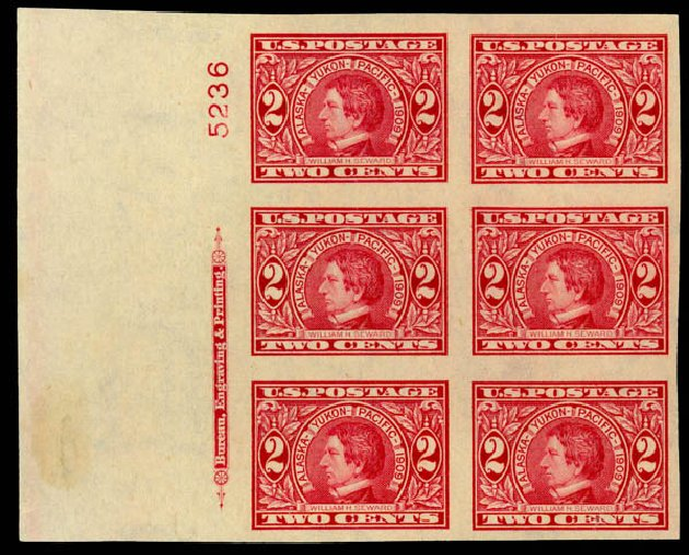 Cost of US Stamps Scott Catalog 371 - 1909 2c Alaska-Yukon Exposition Imperf. Daniel Kelleher Auctions, Jan 2015, Sale 663, Lot 1719