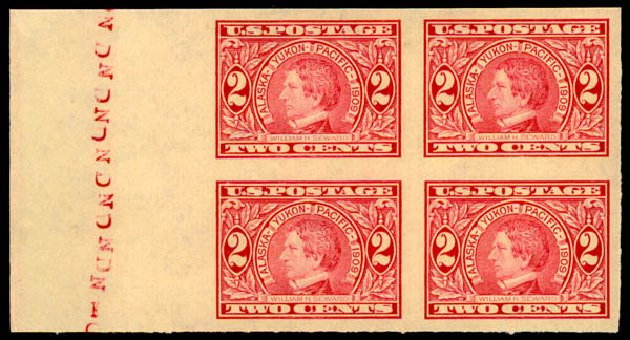 Price of US Stamps Scott Cat. 371: 1909 2c Alaska-Yukon Exposition Imperf. Daniel Kelleher Auctions, May 2015, Sale 669, Lot 2929
