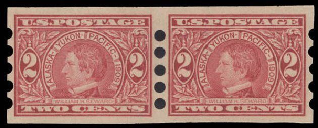 US Stamp Values Scott Catalog #371 - 2c 1909 Alaska-Yukon Exposition Imperf. Daniel Kelleher Auctions, Aug 2015, Sale 672, Lot 2679