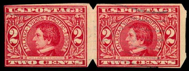 Cost of US Stamps Scott Cat. 371 - 1909 2c Alaska-Yukon Exposition Imperf. Daniel Kelleher Auctions, Jan 2015, Sale 663, Lot 1720