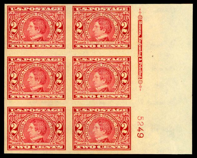 Price of US Stamp Scott Catalogue # 371: 2c 1909 Alaska-Yukon Exposition Imperf. Daniel Kelleher Auctions, May 2015, Sale 669, Lot 2930