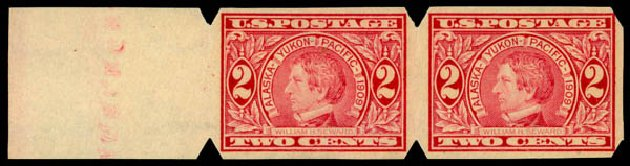 Costs of US Stamps Scott Cat. #371 - 1909 2c Alaska-Yukon Exposition Imperf. Daniel Kelleher Auctions, Jan 2015, Sale 663, Lot 1721