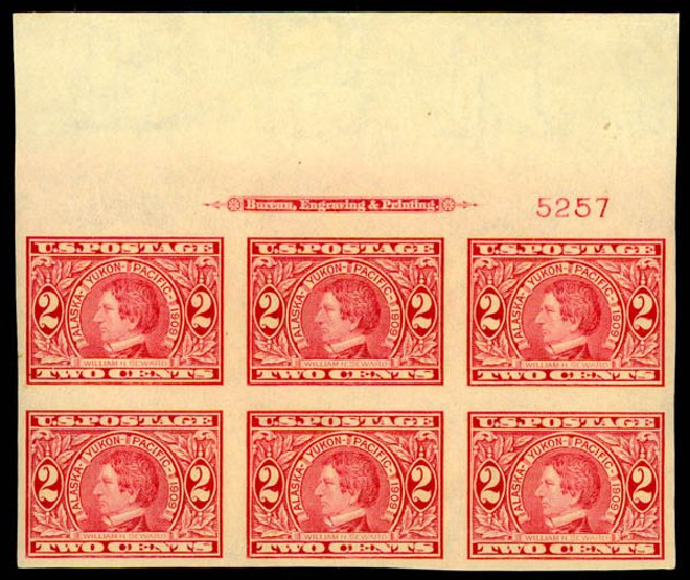 US Stamps Value Scott Cat. #371: 2c 1909 Alaska-Yukon Exposition Imperf. Daniel Kelleher Auctions, May 2015, Sale 669, Lot 2931