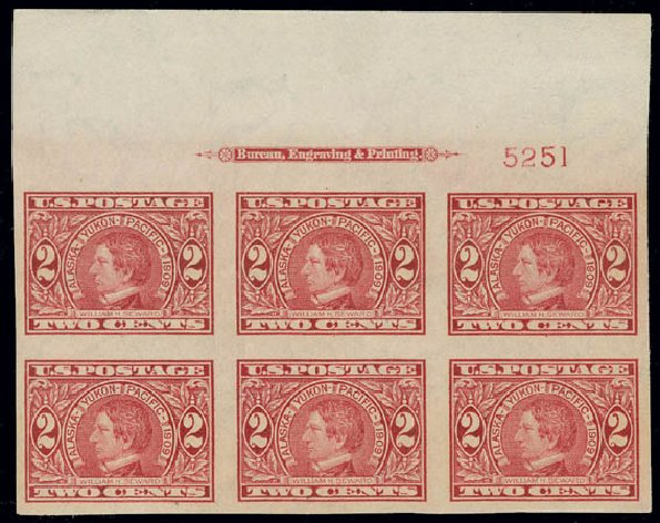 1909, 2¢ Alaska-Yukon, imperf (371), top imprint and plate no  5251 block  of 6  Large margins  Original gum, never hinged  Extremely Fine  Scott  price