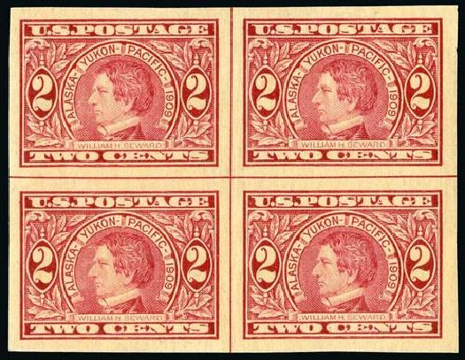 Prices of US Stamps Scott Catalog #371 - 1909 2c Alaska-Yukon Exposition Imperf. Spink Shreves Galleries, Jul 2015, Sale 151, Lot 274