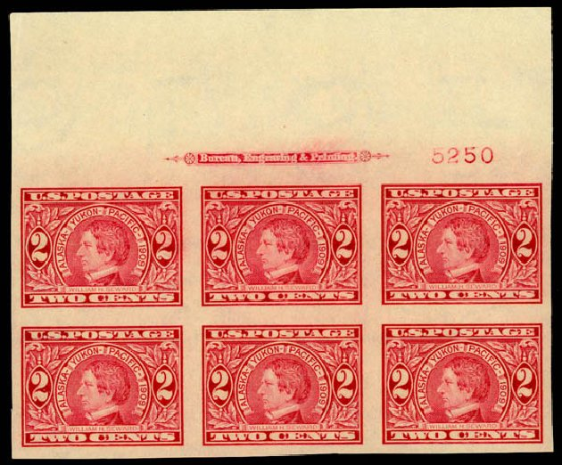 Value of US Stamp Scott Catalogue # 371: 2c 1909 Alaska-Yukon Exposition Imperf. Daniel Kelleher Auctions, May 2014, Sale 653, Lot 2415