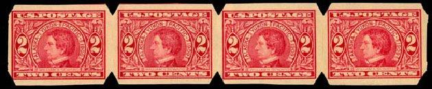 Values of US Stamp Scott # 371: 1909 2c Alaska-Yukon Exposition Imperf. Daniel Kelleher Auctions, Jan 2015, Sale 663, Lot 1722