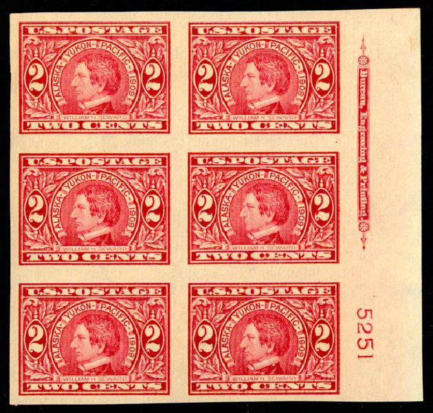 Cost of US Stamps Scott Catalog #371 - 2c 1909 Alaska-Yukon Exposition Imperf. Daniel Kelleher Auctions, May 2015, Sale 669, Lot 2932