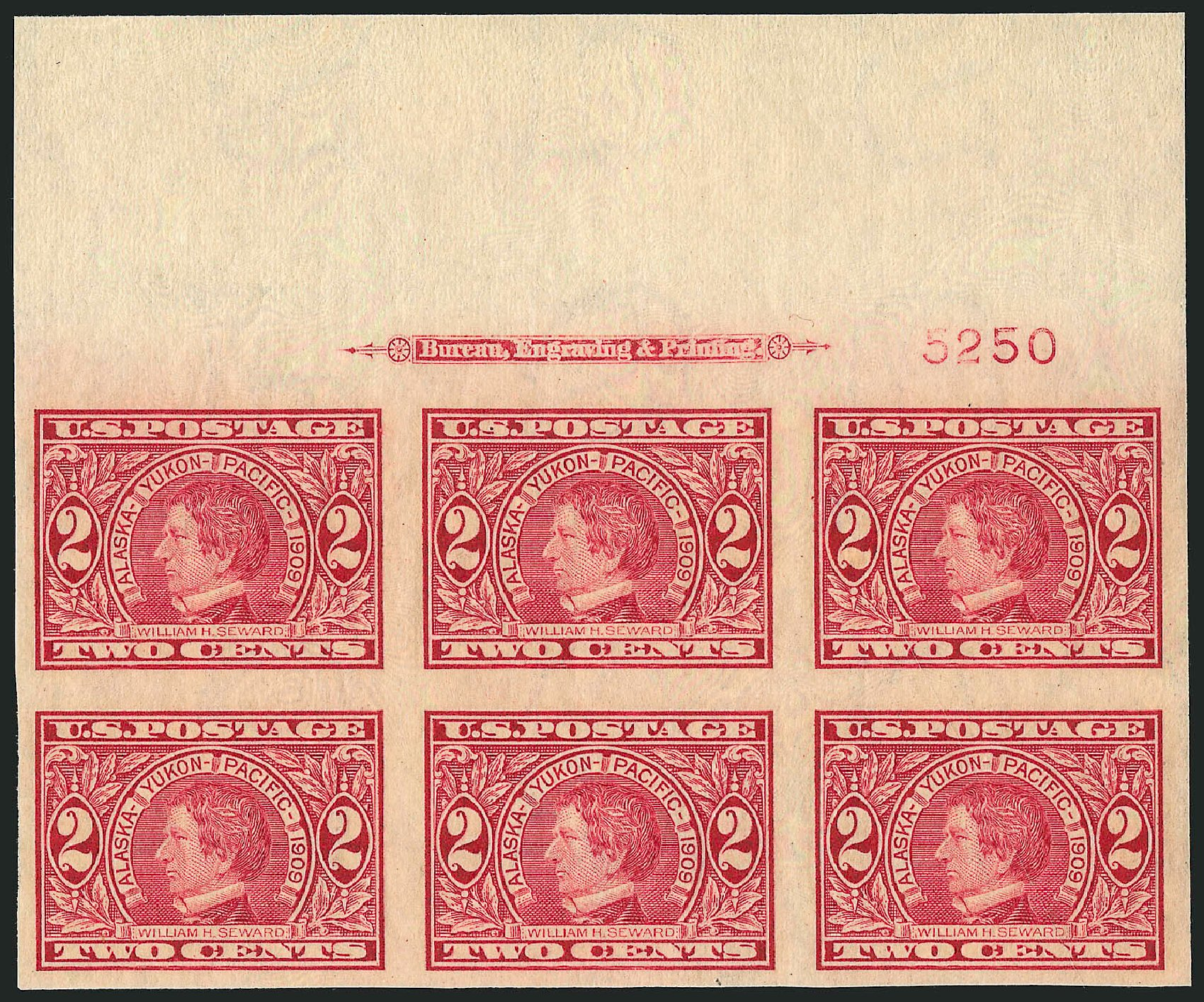 US Stamps Prices Scott Catalog # 371: 1909 2c Alaska-Yukon Exposition Imperf. Robert Siegel Auction Galleries, Feb 2015, Sale 1093, Lot 182