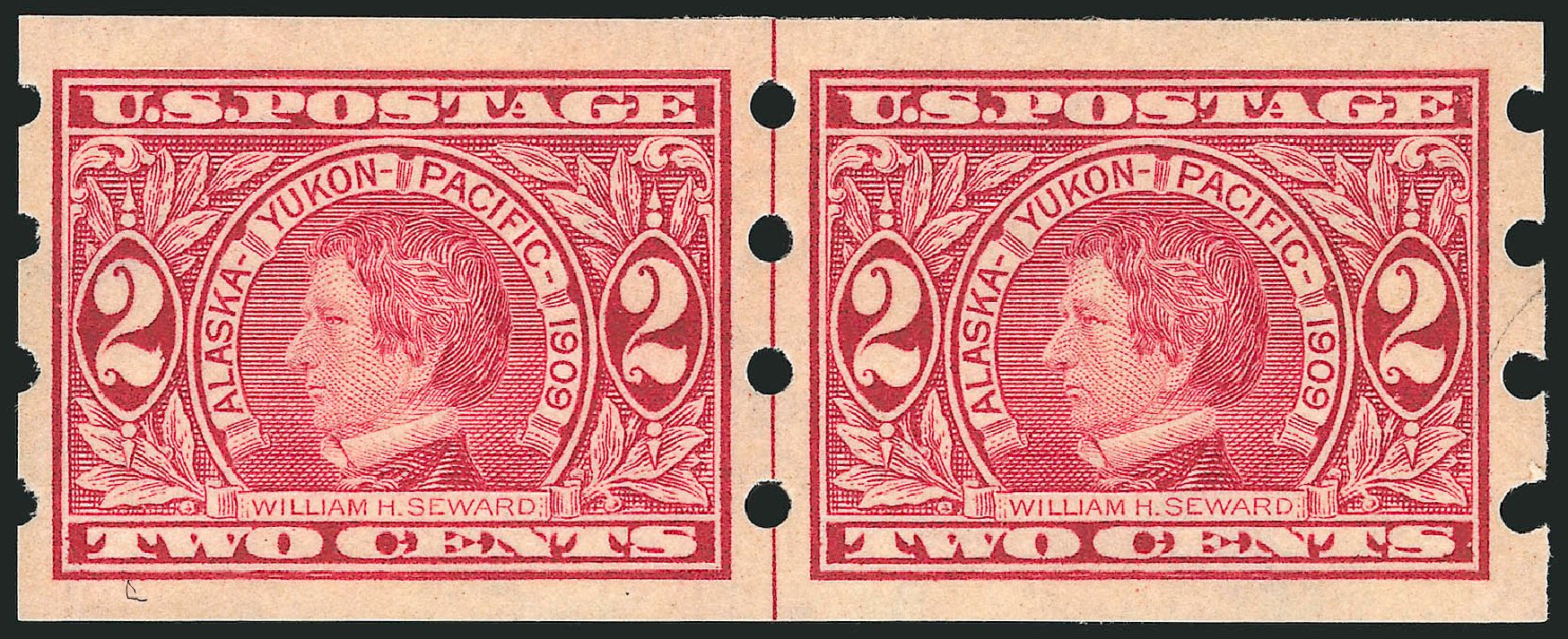 US Stamp Prices Scott #371 - 1909 2c Alaska-Yukon Exposition Imperf. Robert Siegel Auction Galleries, Oct 2014, Sale 1082, Lot 446