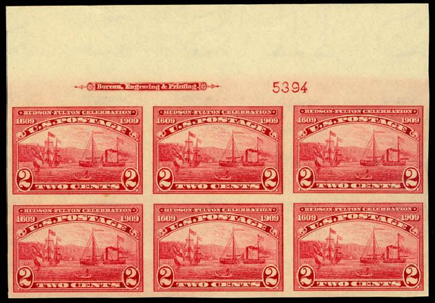 Costs of US Stamps Scott Cat. 373 - 2c 1909 Hudson-Fulton Imperf. Daniel Kelleher Auctions, May 2014, Sale 653, Lot 2417