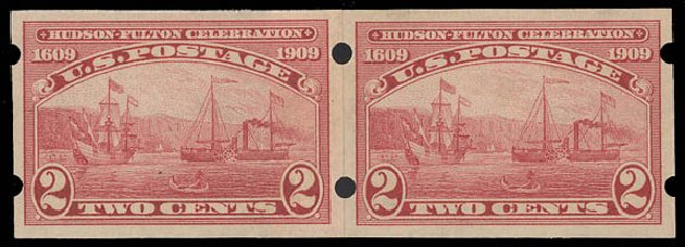 Value of US Stamp Scott #373 - 1909 2c Hudson-Fulton Imperf. Daniel Kelleher Auctions, Aug 2015, Sale 672, Lot 2687