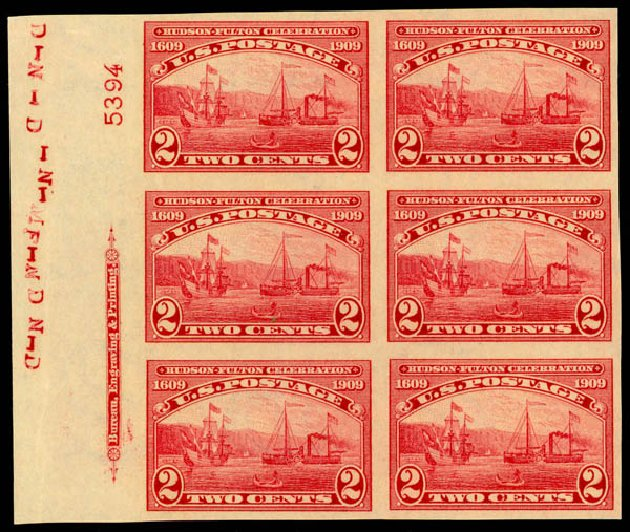 Prices of US Stamps Scott Cat. #373 - 2c 1909 Hudson-Fulton Imperf. Daniel Kelleher Auctions, Jan 2015, Sale 663, Lot 1728