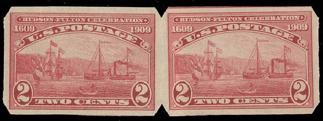 Value of US Stamps Scott Cat. # 373: 1909 2c Hudson-Fulton Imperf. Daniel Kelleher Auctions, Aug 2015, Sale 672, Lot 2688