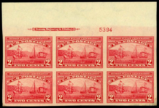 US Stamps Values Scott #373: 2c 1909 Hudson-Fulton Imperf. Daniel Kelleher Auctions, Sep 2014, Sale 655, Lot 659