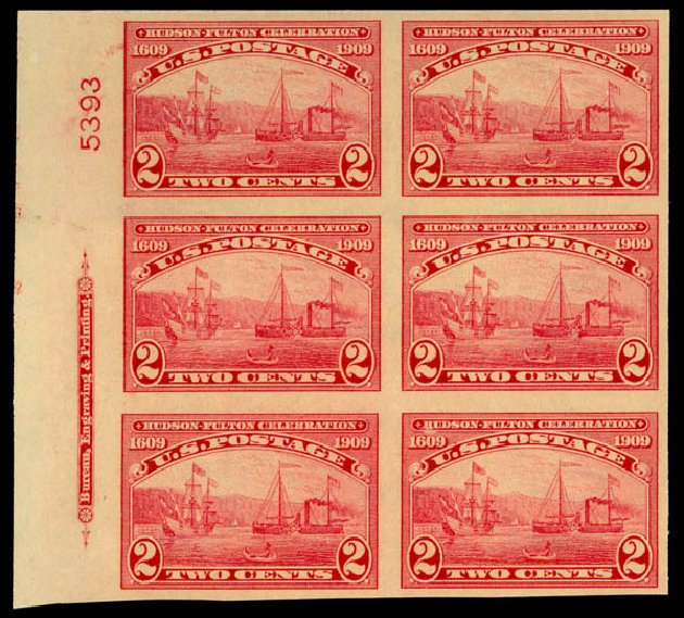 Prices of US Stamp Scott Cat. # 373 - 1909 2c Hudson-Fulton Imperf. Daniel Kelleher Auctions, Jan 2015, Sale 663, Lot 1729