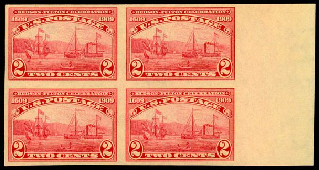 Price of US Stamps Scott Cat. 373: 2c 1909 Hudson-Fulton Imperf. Daniel Kelleher Auctions, May 2015, Sale 669, Lot 2934