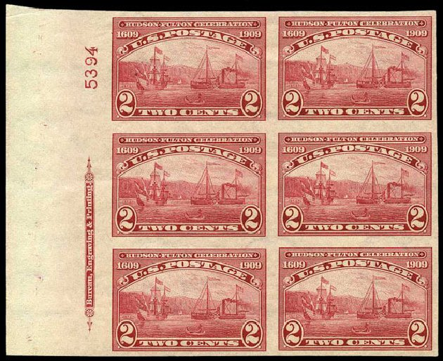 US Stamp Price Scott 373 - 1909 2c Hudson-Fulton Imperf. Harmer-Schau Auction Galleries, May 2015, Sale 105, Lot 165